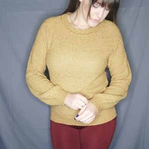 Vintage balloon sleeve knit perforated sweater
